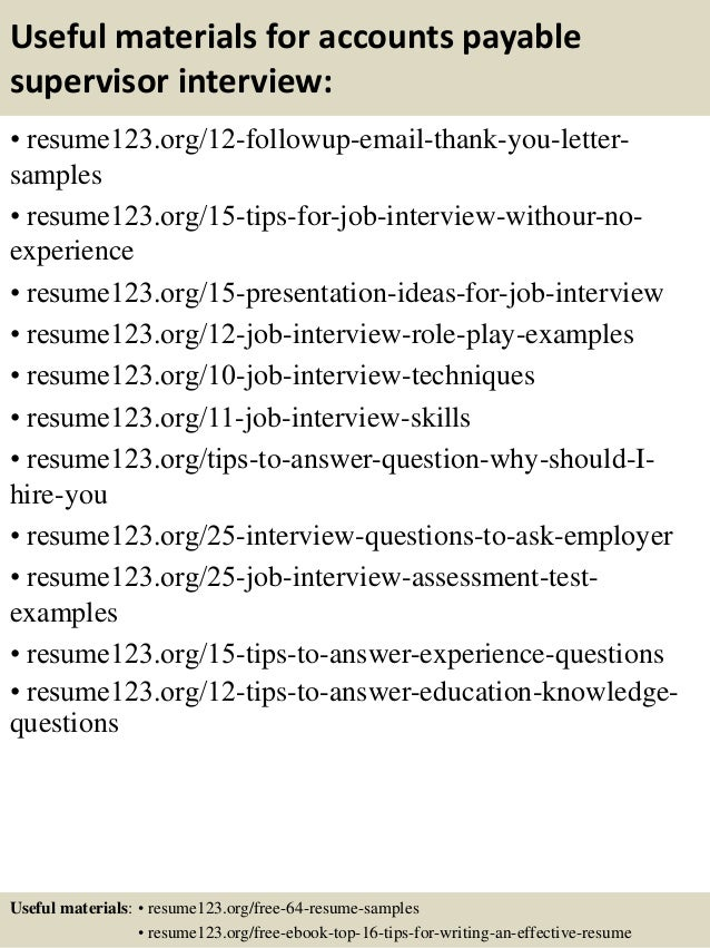 Top 8 accounts payable supervisor resume samples