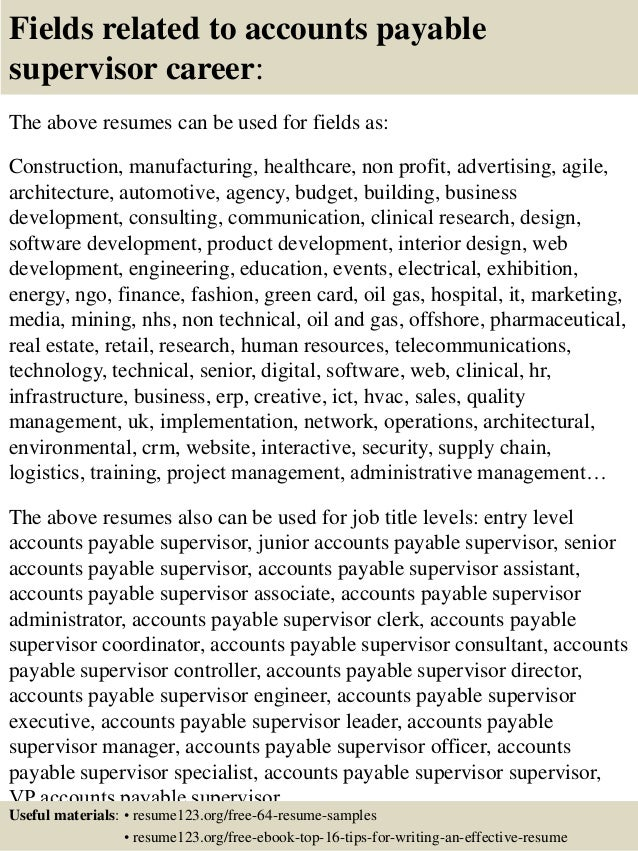 ... 16. Fields Related To Accounts Payable Supervisor ...  Accounts Payable Supervisor Resume