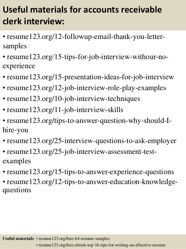 Top 8 accounts receivable clerk resume samples