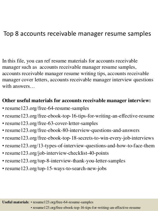 Top 8 Accounts Receivable Manager Resume Samples In This File, You Can Ref  Resume Materials ...  Accounts Receivable Resume