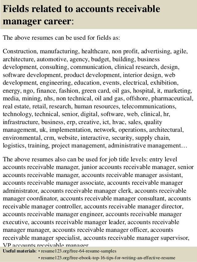 16 fields related to accounts receivable - Account Receivable Resume