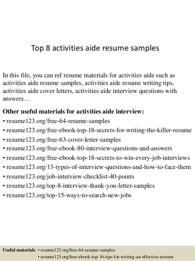 Top 8 activities aide resume samples