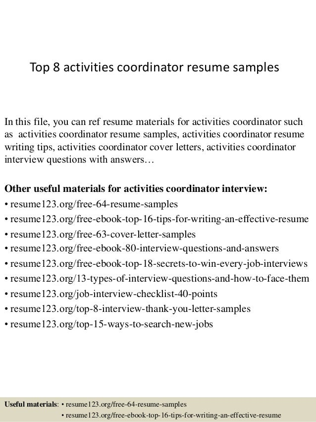 top 8 activities coordinator resume samples