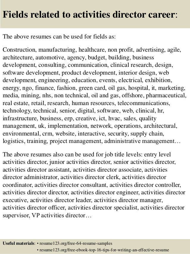 16 fields related to activities director - Activity Director Resume