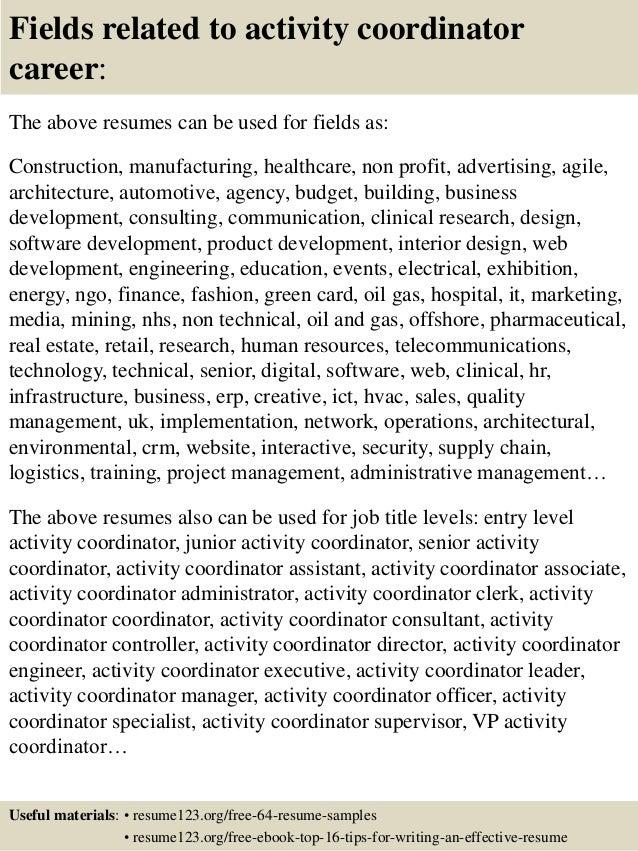top 8 activity coordinator resume samples