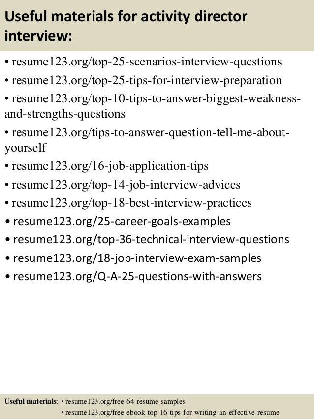 Top 8 activity director resume samples