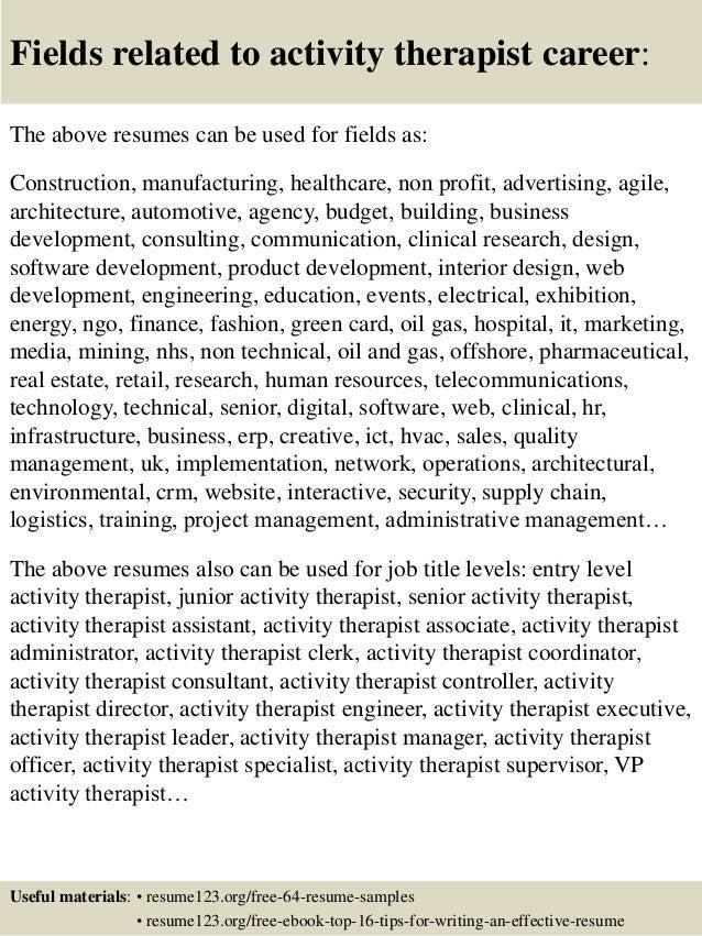 Top 8 activity therapist resume samples