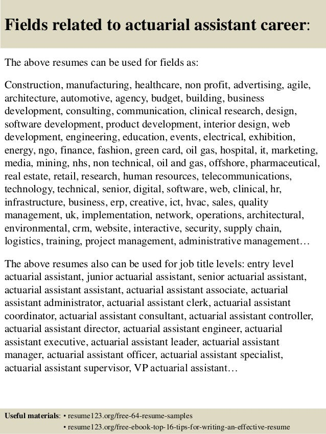 16 fields related to actuarial - Sample Actuary Resume
