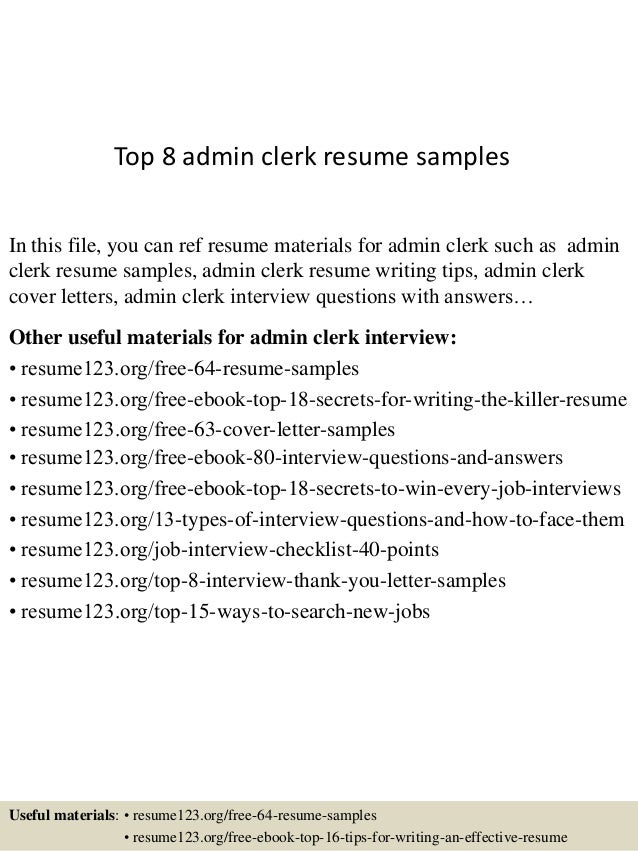 Top 8 Admin Clerk Resume Samples In This File, You Can Ref Resume Materials  For ...