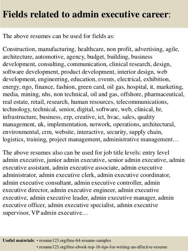 executive admin resumes