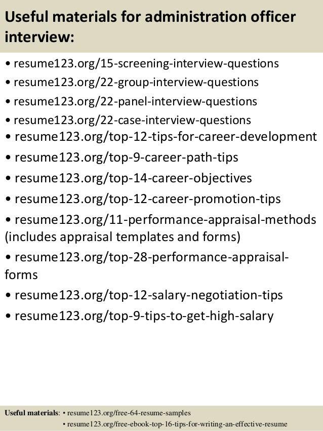 top 8 administration officer resume samples - Administrative Officer Resume Template