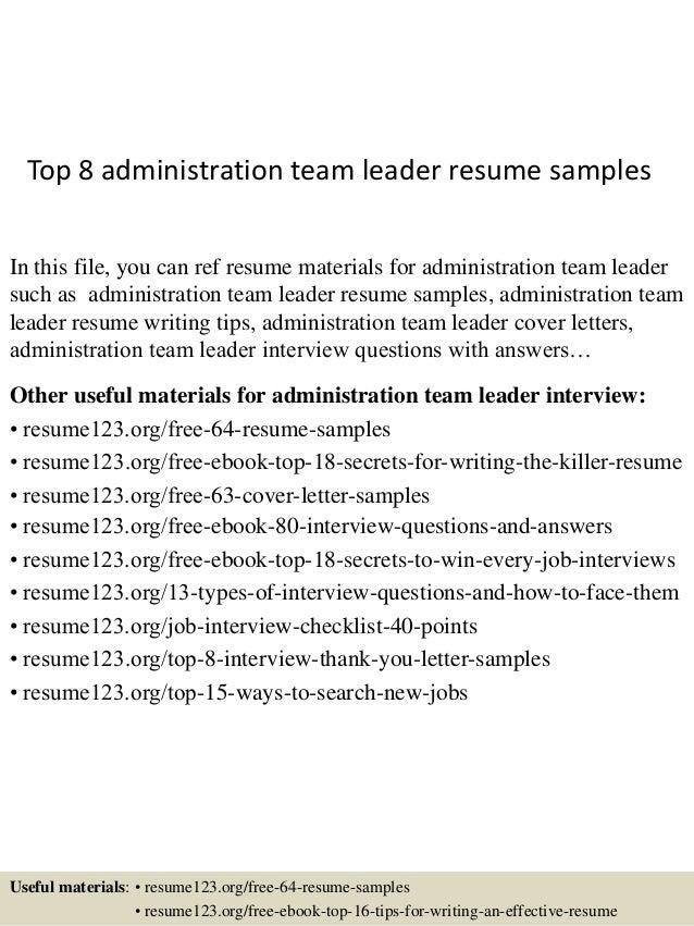 team leader resume samples