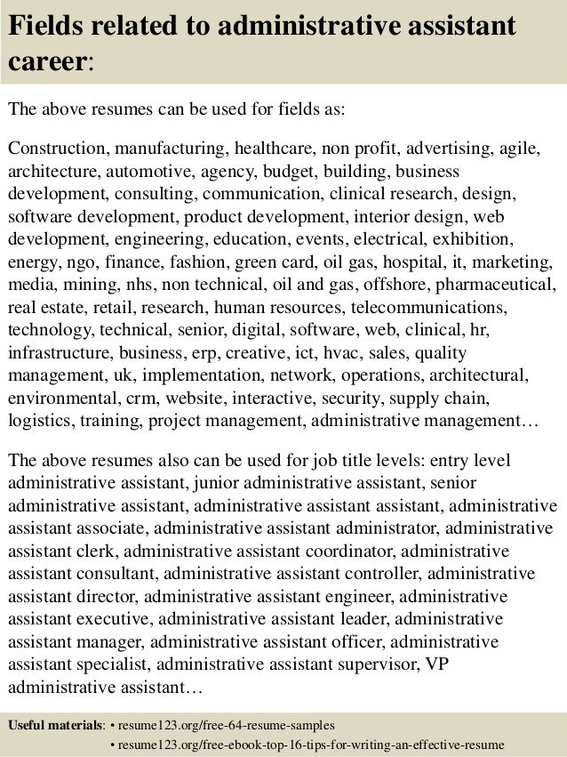 16 fields related to administrative assistant
