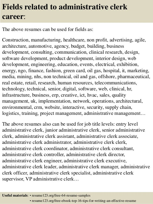 resume resume sample admin clerk top 8 administrative clerk resume samples 16 fields related to clerk - Resume Sample For Admin Clerk
