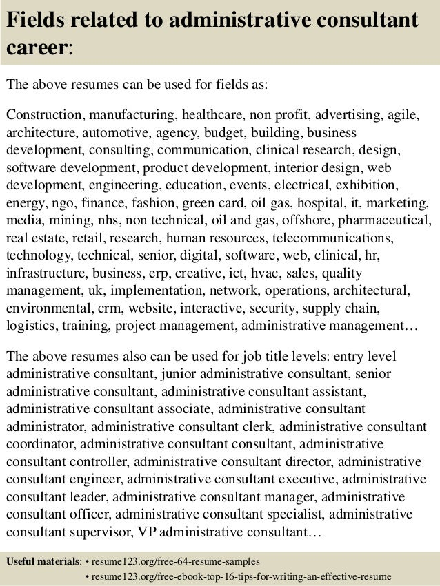 top 8 administrative consultant resume samples