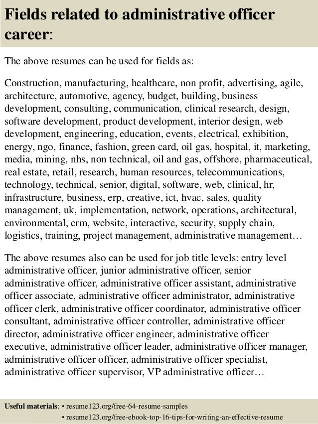 top 8 administrative officer resume samples