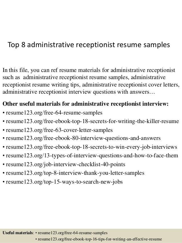 administrative receptionist resumes amitdhull