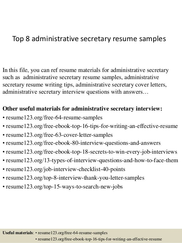 top 8 administrative secretary resume samples 1 638 - Secretary Resume Template