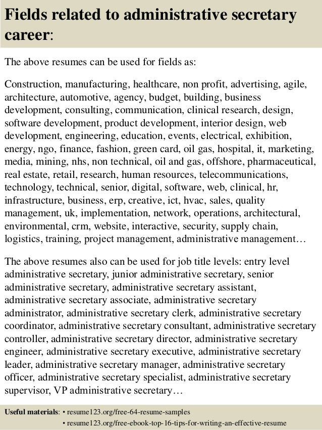 Top 8 Administrative Secretary Resume Samples