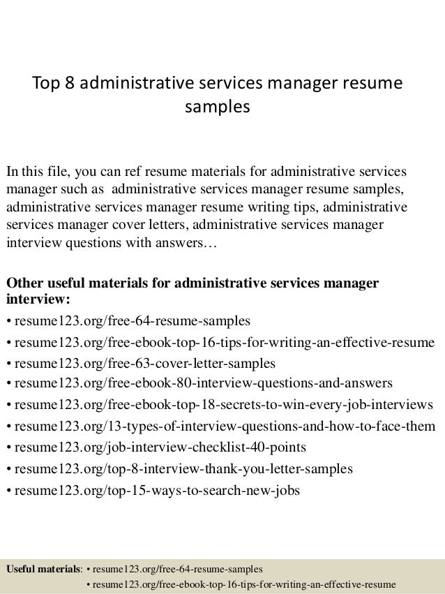 Top 8 Administrative Services Manager Resume Samples In This File, You Can  Ref Resume Materials ...  Service Manager Resume