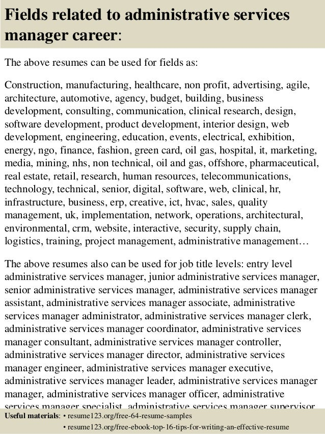 top 8 administrative services manager resume samples