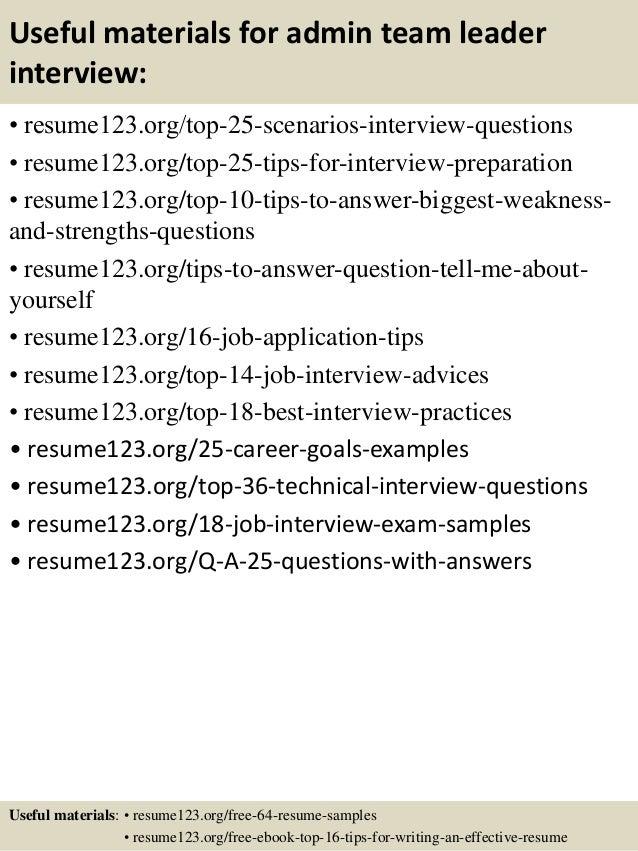 Top 8 Admin Team Leader Resume Samples