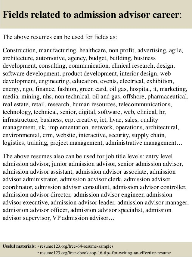 Top 8 admission advisor resume samples