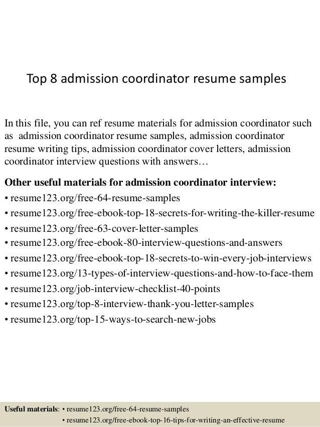 Top 8 admission coordinator resume samples