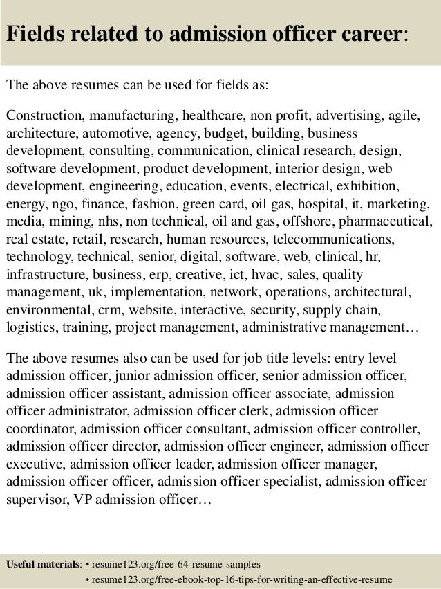 admissions resumes