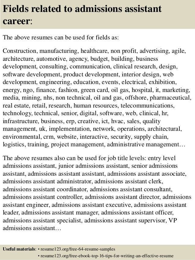top 8 admissions assistant resume samples