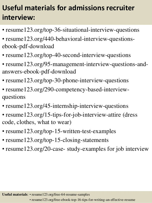 Top 8 Admissions Recruiter Resume Samples