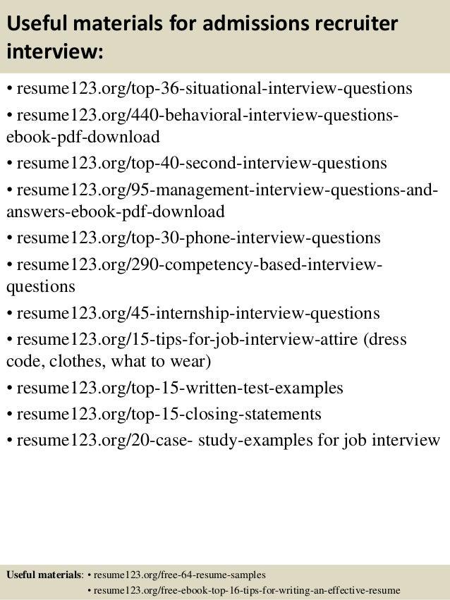 Top 8 Admissions Recruiter Resume Samples