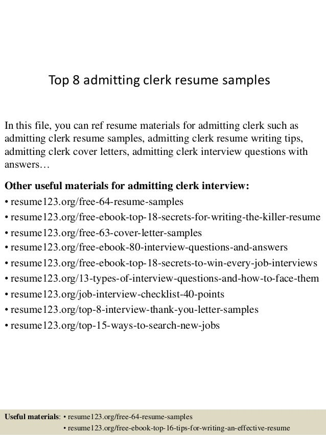 Top 8 admitting clerk resume samples