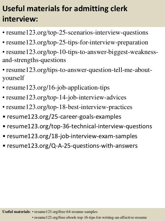 top 8 admitting clerk resume samples