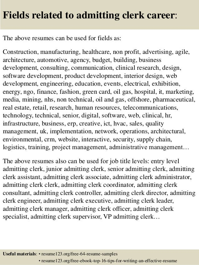 16 fields related to admitting clerk - Admitting Clerk Jobs