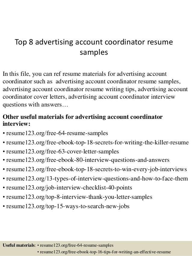 top 8 advertising account coordinator resume samples 1 638 jpg cb 1434199992
