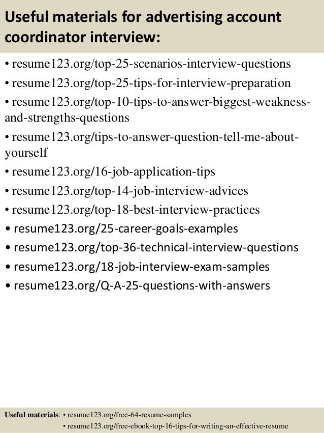 Top 8 Advertising Account Coordinator Resume Samples