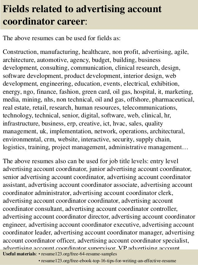 sample advertising coordinator resume administrative coordinator