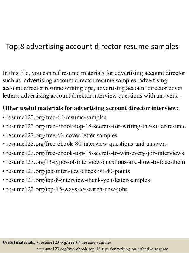 Captivating Top 8 Advertising Account Director Resume Samples In This File, You Can Ref  Resume Materials ...