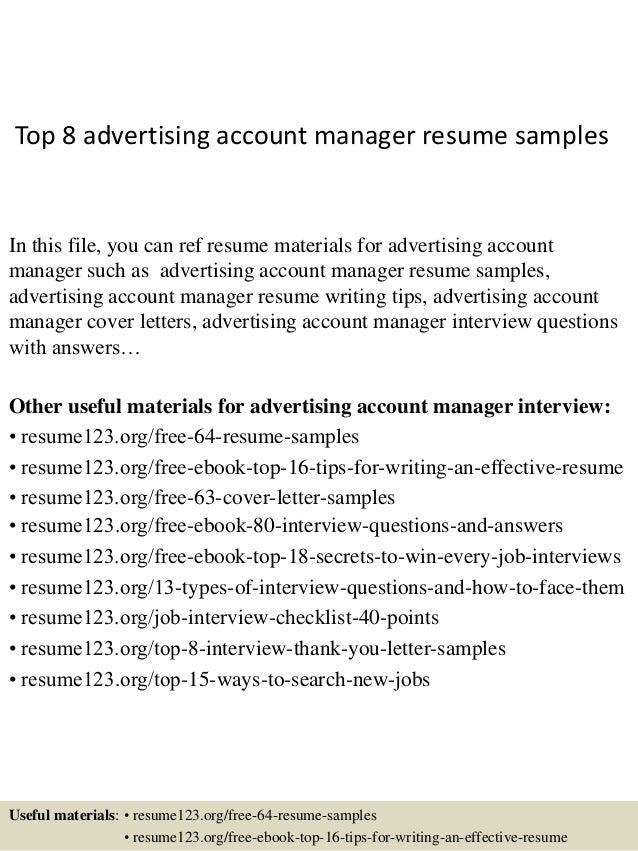 Top 8 Advertising Account Manager Resume Samples In This File You Can Ref Materials