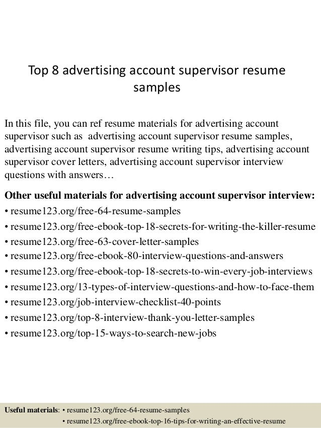 Top 8 Advertising Account Supervisor Resume Samples In This File You Can Ref Materials