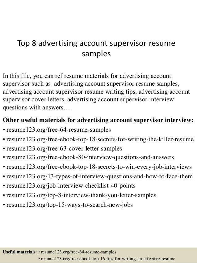 top 8 advertising account supervisor resume samples 1 638 jpg cb 1435934216