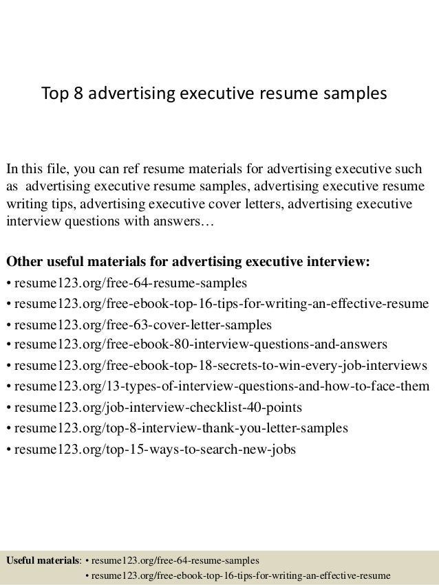 top 8 advertising executive resume samples in this file you can ref resume materials for - Advertising Executive Sample Resume