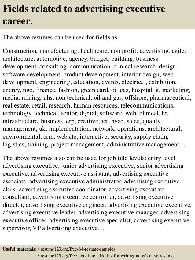 16 fields related to advertising executive