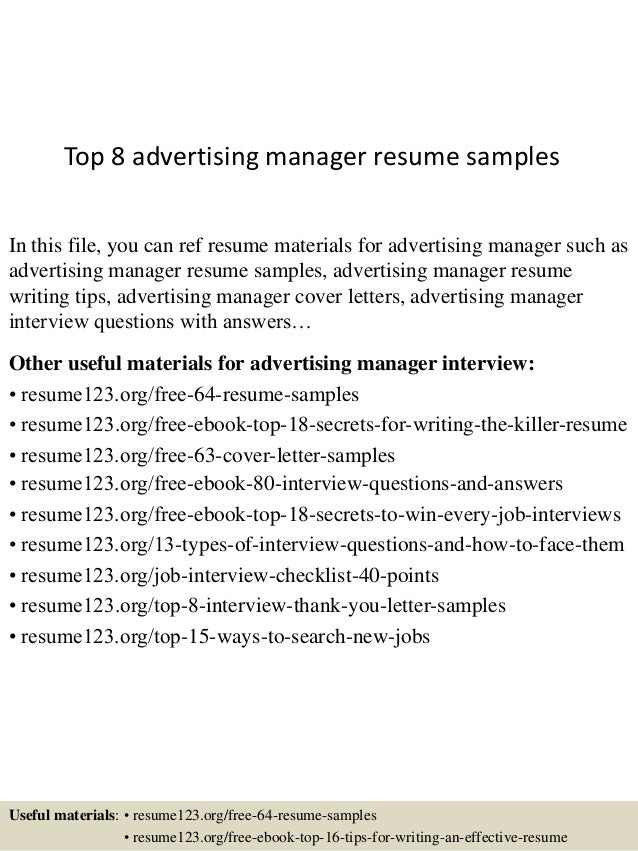 Top 8 Advertising Manager Resume Samples In This File You Can Ref Materials For