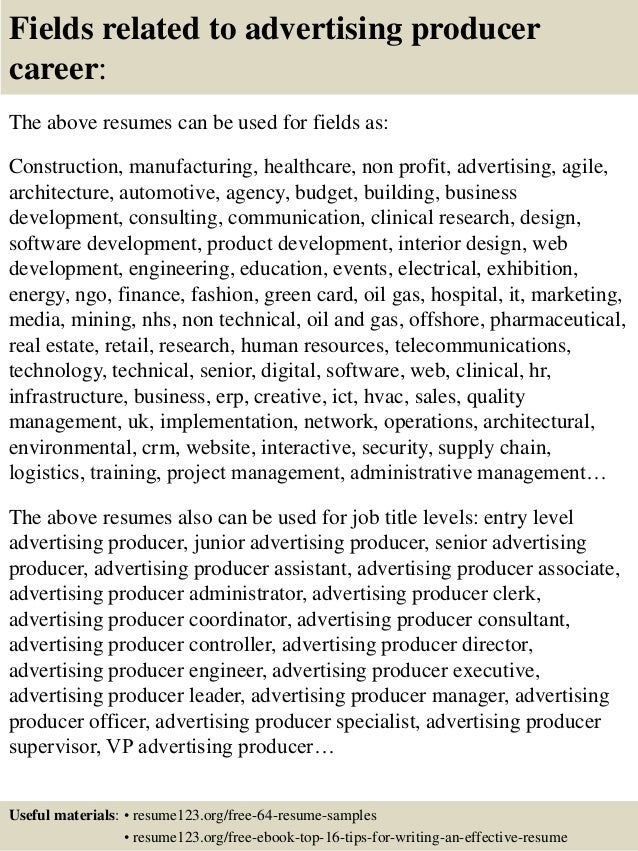 ... 16. Fields Related To Advertising ...  Advertising Resume