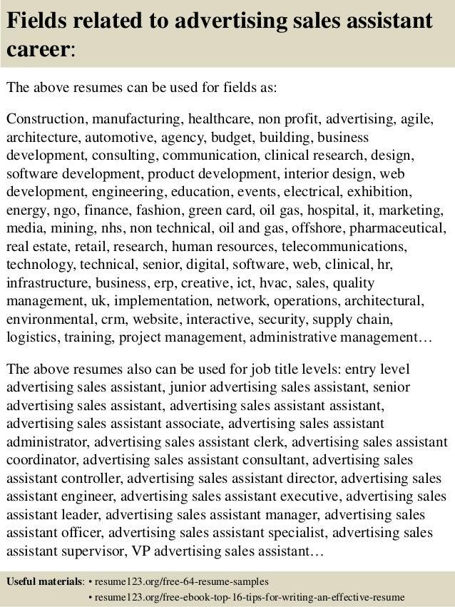 Top 8 advertising sales assistant resume samples