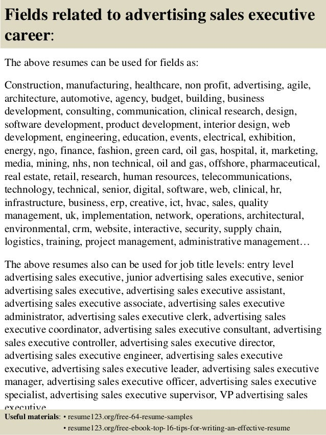 16 fields related to advertising sales executive career the above resumes - Resume Format For Sales Executive