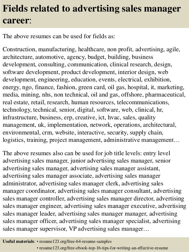 top 8 advertising sales manager resume samples