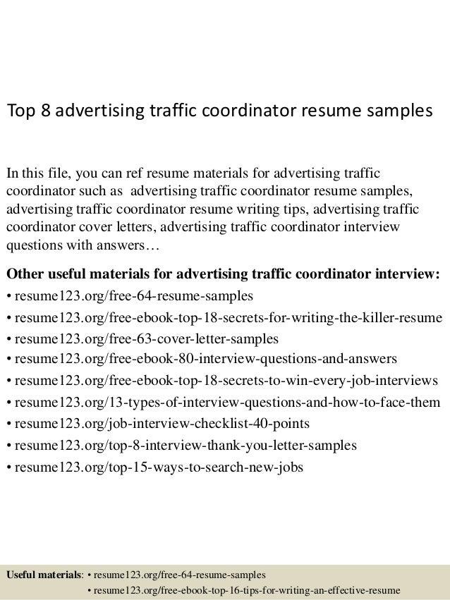 traffic coordinator resumes